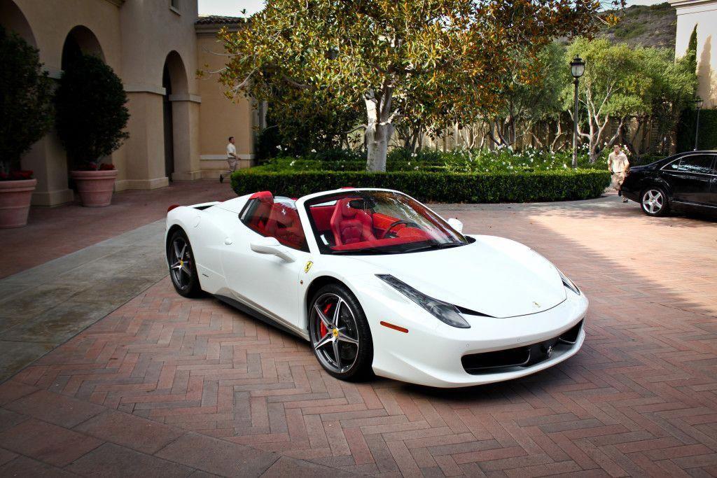 white ferrari 458 italia with red interior