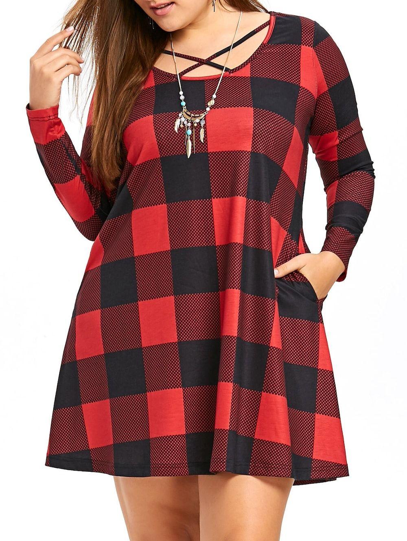 $17.65--5x/22--Plus Size Long Sleeve Criss Cross Mini Plaid Dress - Checked - 5xl