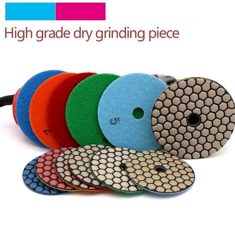 5pcs High Quality Dry Grinding Disc Polishing Buffing Pads 1pcs Stick For Granite Marble Stone Concrete Floor Air S Buffing Pads Marble Stones Marble Granite