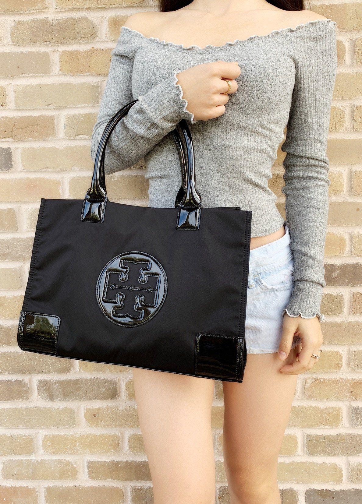 64a8f7fe954b Tory Burch Ella Mini Tote Black Nylon Patent Leather #top #ebaystore  #amazonfashion #posher #topratedseller #mercariapp #amazon #Handbags # GabysBags # ...