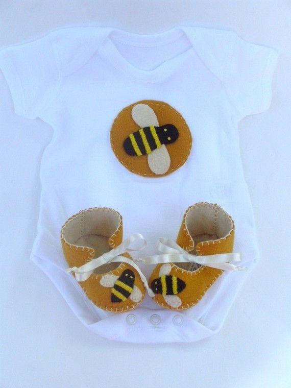 Bumble Bee Unisex Baby Gift Set Booties Plus Onesie On Etsy 4095