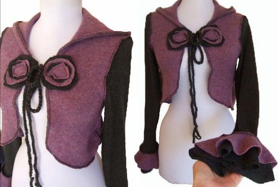 Cropped Sweater Jacket S by RebeccasArtCloset on Etsy