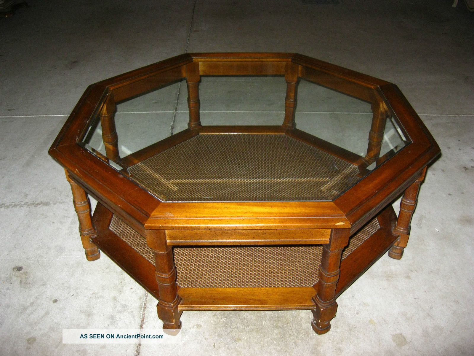 Vintage danish modern octagon glass coffee table cane mid for Octagon glass top coffee table