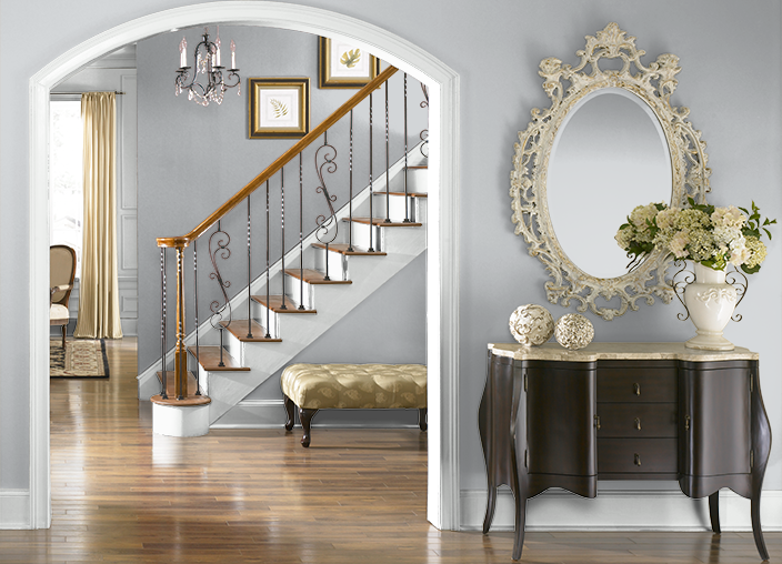 Behr paint silver shadown510 1 for the entryway stairway upstairs