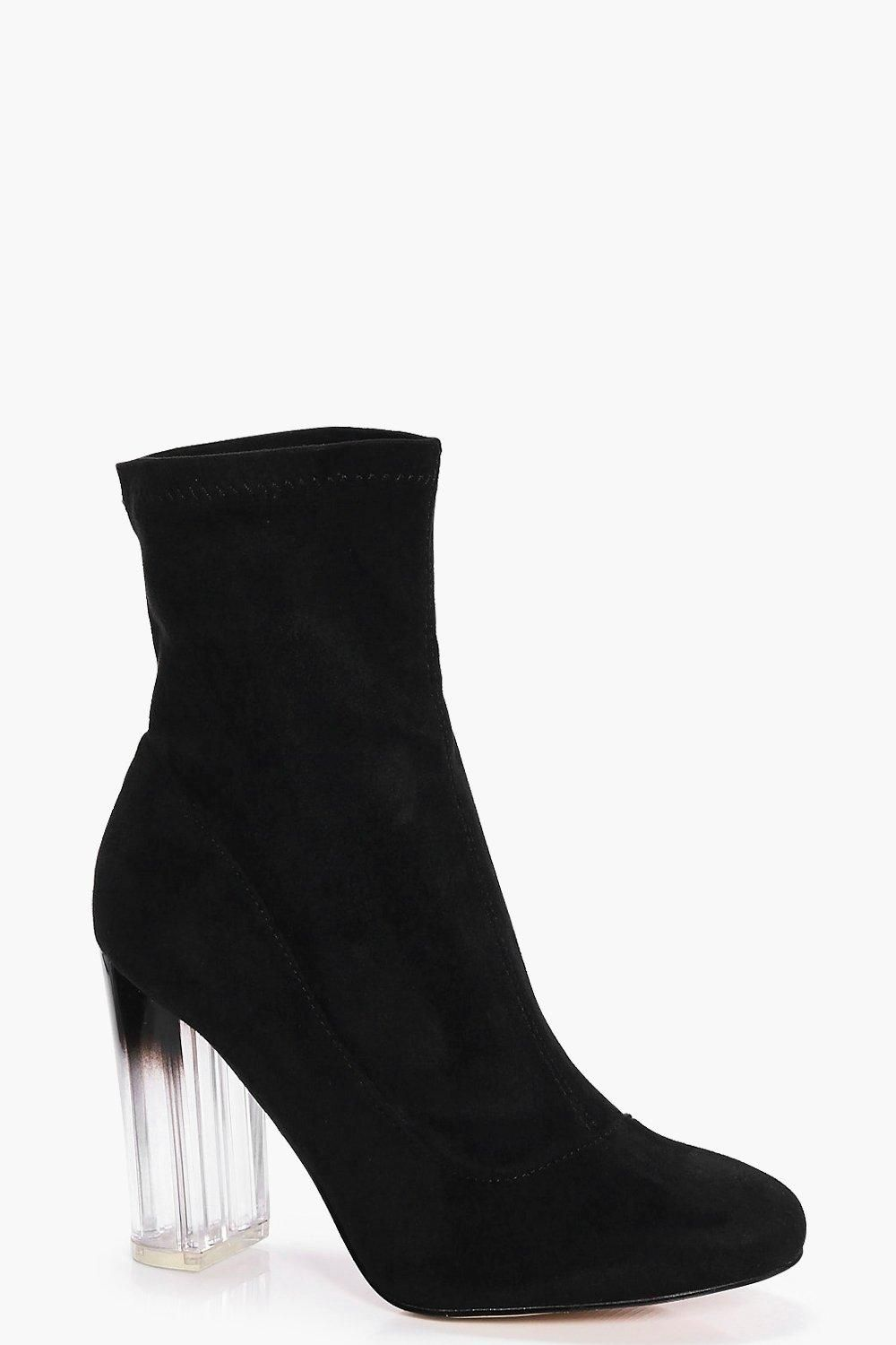 b7278bc81c Click here to find out about the Wide Fit Clear Heel Sock Boots from  Boohoo