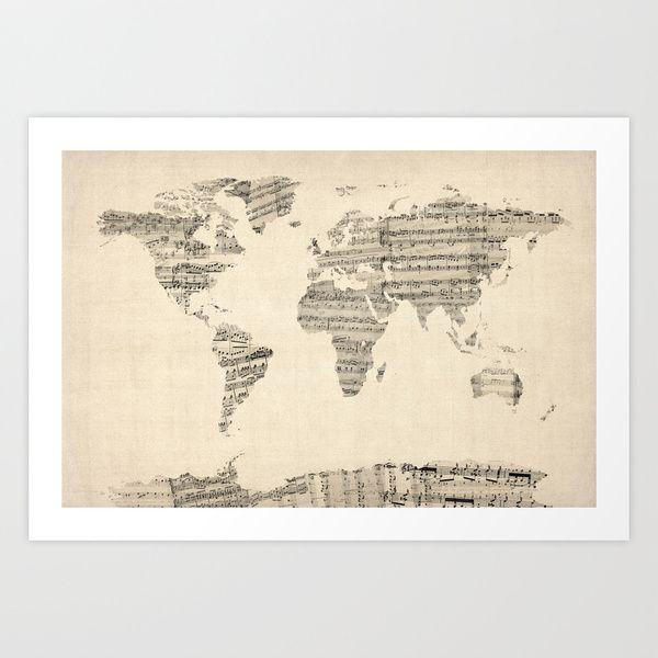 Old sheet music world map art print by artpause society6 home old sheet music world map art print by artpause society6 gumiabroncs Image collections