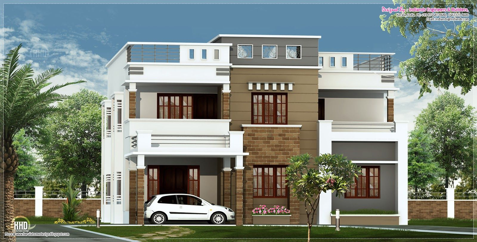 4 bedroom house with roof terrace plans google search house elevation indian pinterest - D home design front elevation ...