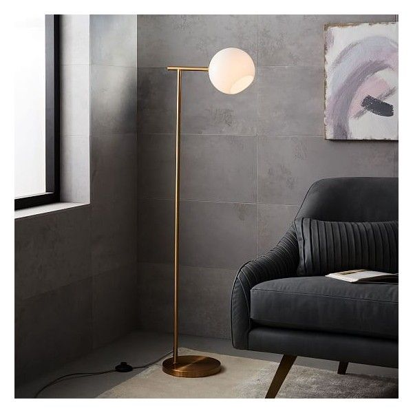 West Elm Staggered Glass Floor Lamp, Brass/Milk ($159) ❤ Liked On
