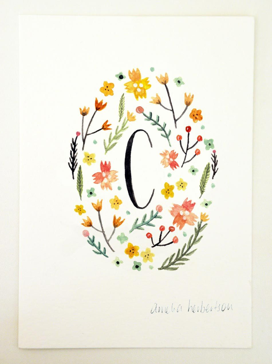 Monogram Letter C Yellow Floral Art Print By