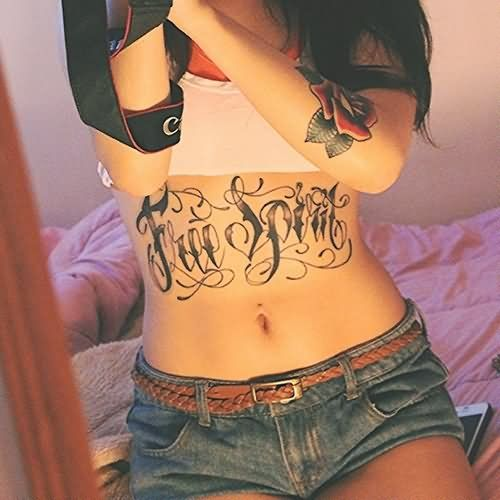 10803278e Free Spirit Lettering Tattoo On Girl Stomach Lower Stomach Tattoos For Women,  Lower Belly Tattoos