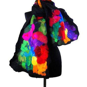 Felted Scarf Nuno felt Scarf Nunofelt Scarf MULTICOLOR SCARF Wrap Scarves Felt Nunofelt Nuno felt Silk Silkyfelted Eco shawl Fiber Art