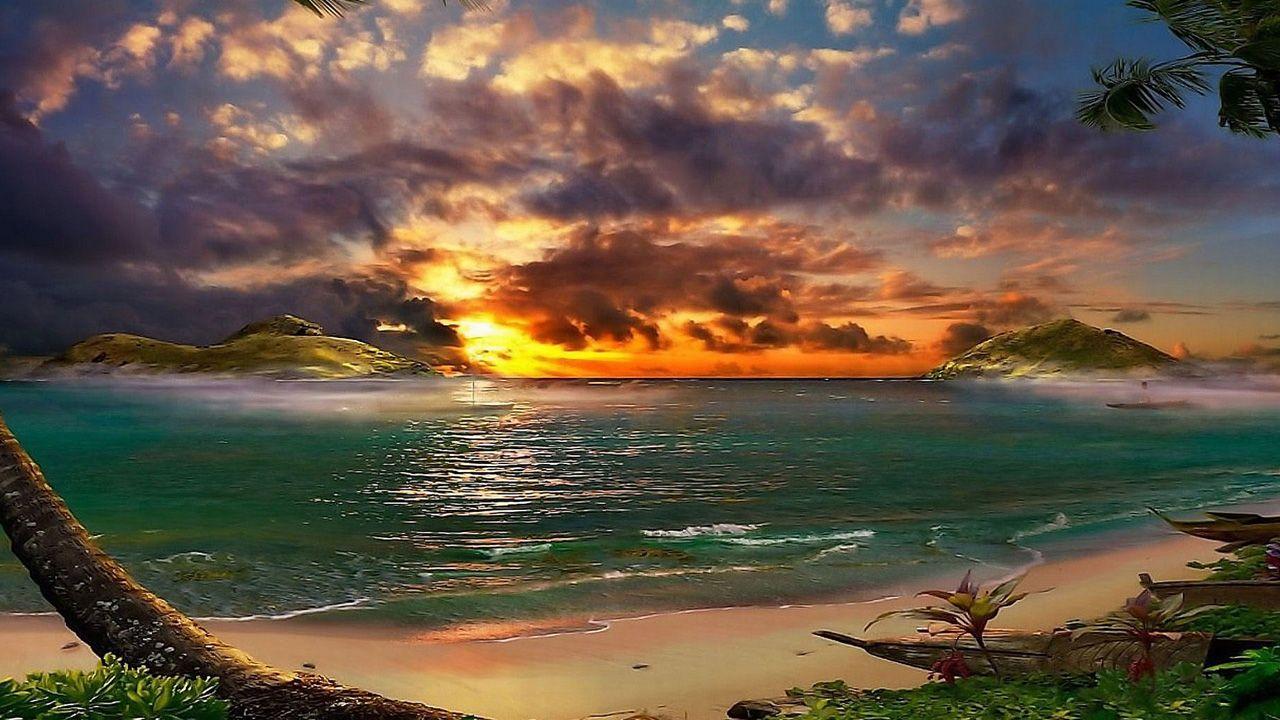 Tropical Beach Sunset Wallpaper 05, HD Desktop Wallpapers