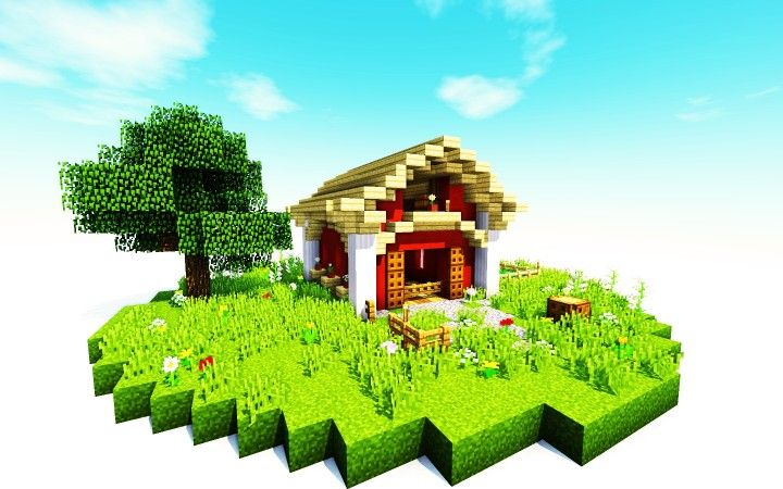 Small Barn Minecraft Project Minecraft House Designs Minecraft Projects Minecraft Barn