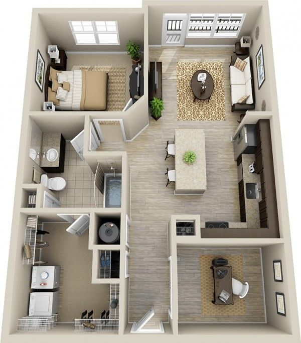 50 Plans en 3D d\u0027appartement avec 1 chambres House, Smallest house