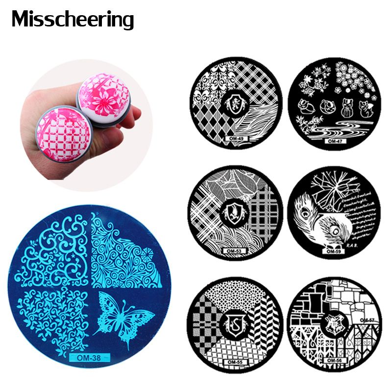 Hot Design Nail Art Template 5pcsset Stainless Round Image Plate