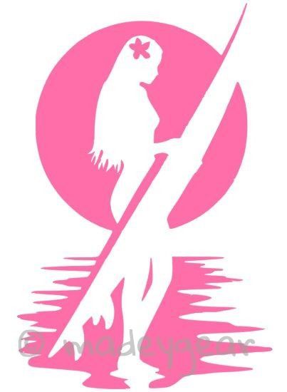 Car Window Vinyl Decal Sticker Sports Surfing Girl With Hibiscus - Car window decal stickers sports