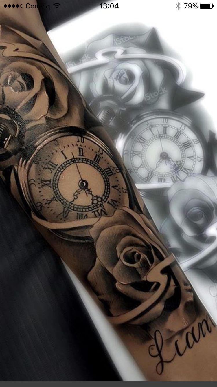 Pin De Luis Hernandez En Tatuaje Tatuaje Reloj Y Rosa Tatuajes Impresionantes Y Tatuajes De