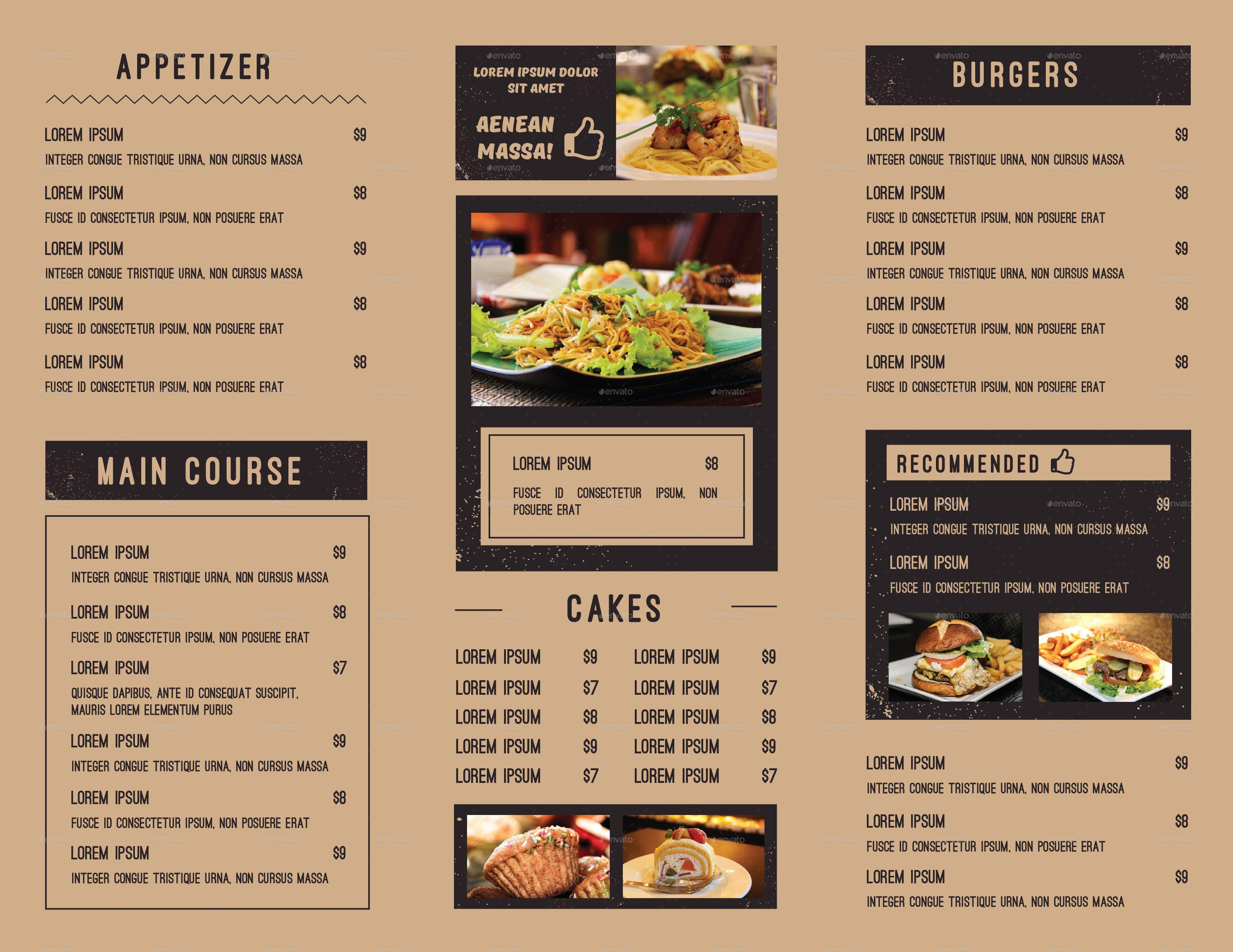 Trifold Food Menu Restaurant Menu Design Food Menu Canada Food Guide