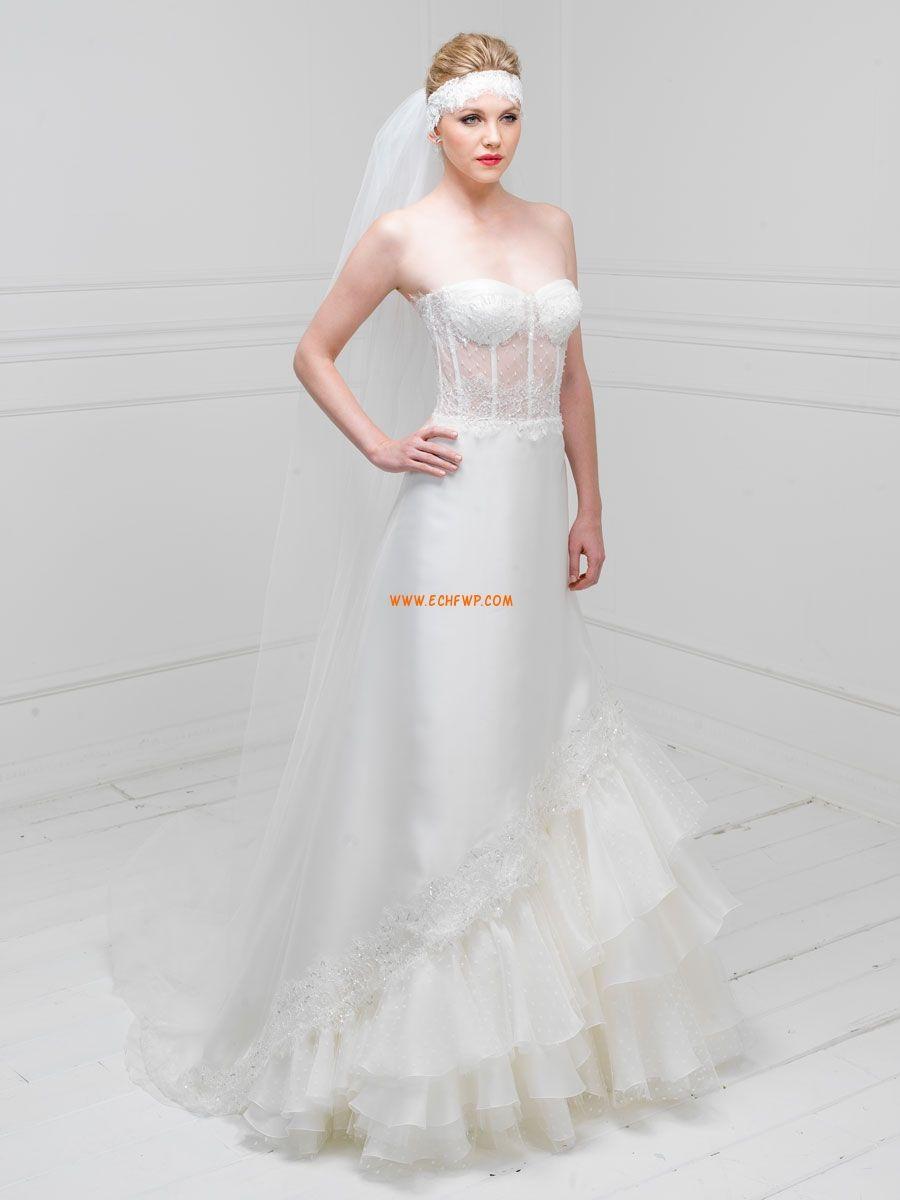 Satén Elástico Verano Escotado por Detrás Vestidos de novias 2014