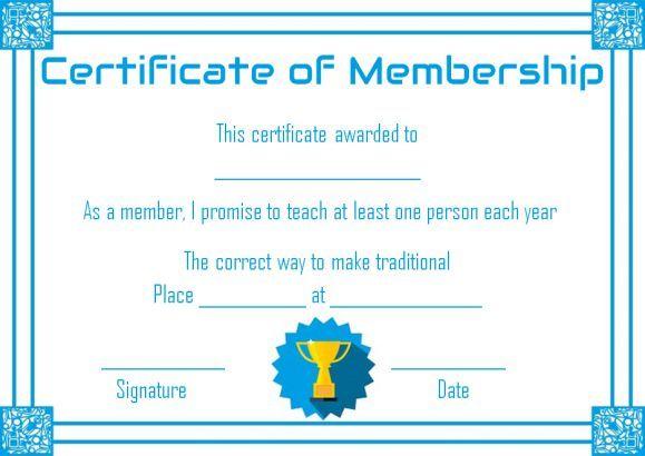 Free Membership Certificate Template  Free Membership Certificate