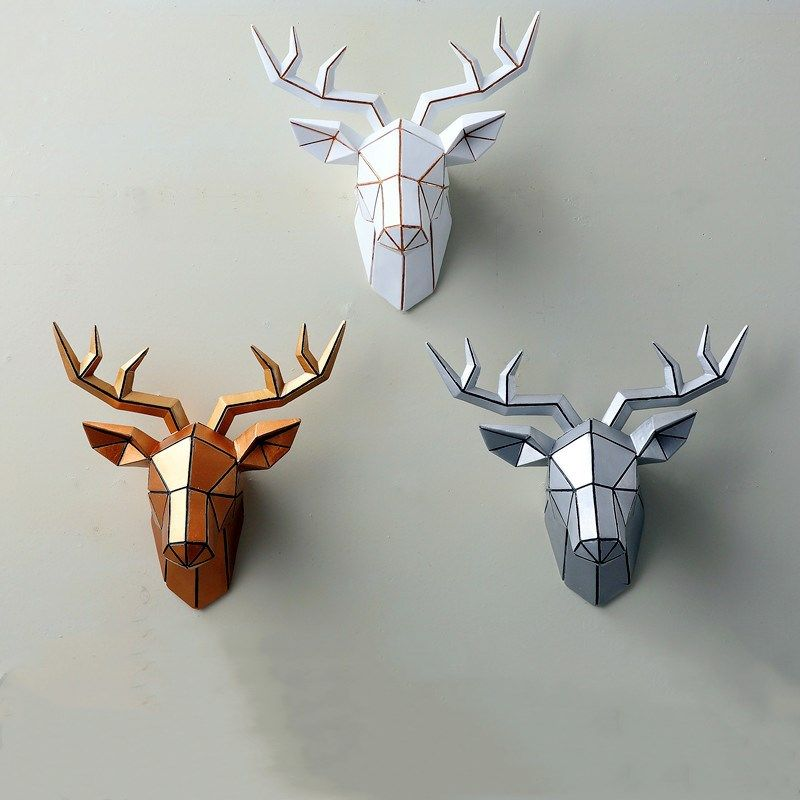 Cheap Statues Sculptures Buy Directly From China Suppliers 3d Animal Resin Deer Head Decoration Geometric Deer Geometric Deer Head Deer Heads Living Room