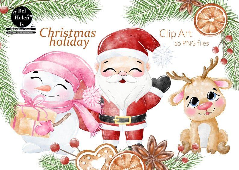 Christmas Clipart Cute Santa Clip Art Watercolor Santa Winter Holidays Watercolor Png Santa With Deer Santa And Snowman Clip Art Christmas Clipart Art