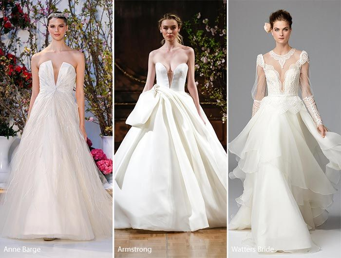 Perfect Plunging Necklines Spring Bridal Fashion Trends Wedding Dresses with Plunging Necklines
