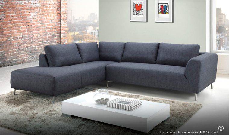 Canapé angle droit convertible tissu chiné gris anthracite et noir
