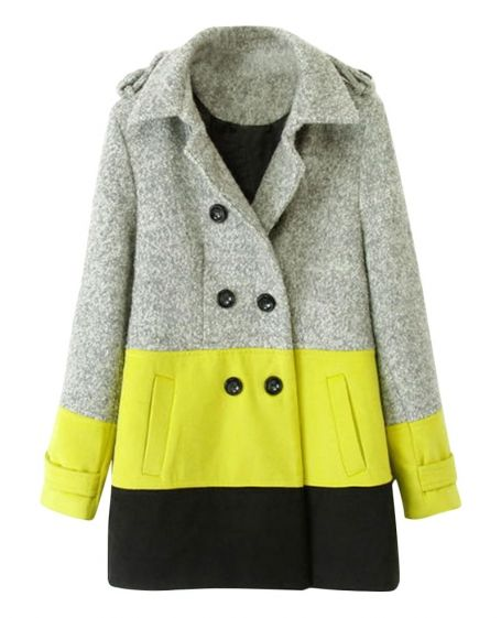 Colorblock Double-breasted Belted Md-long Woolen Coat