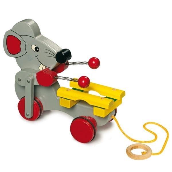 Souris à tirer, jouet musical en bois