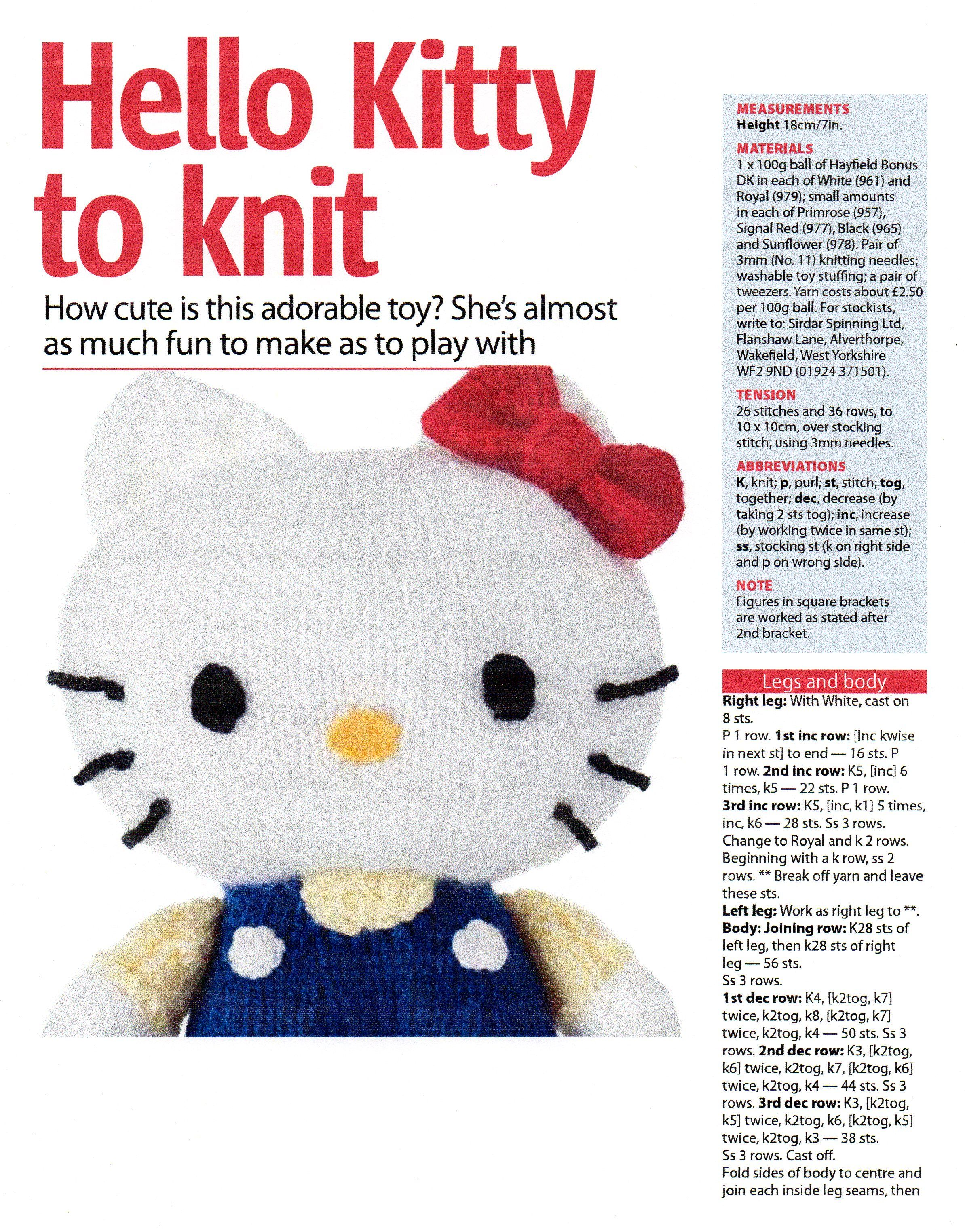 Free Hello Kitty Knitting pattern from Woman's Weekly ...
