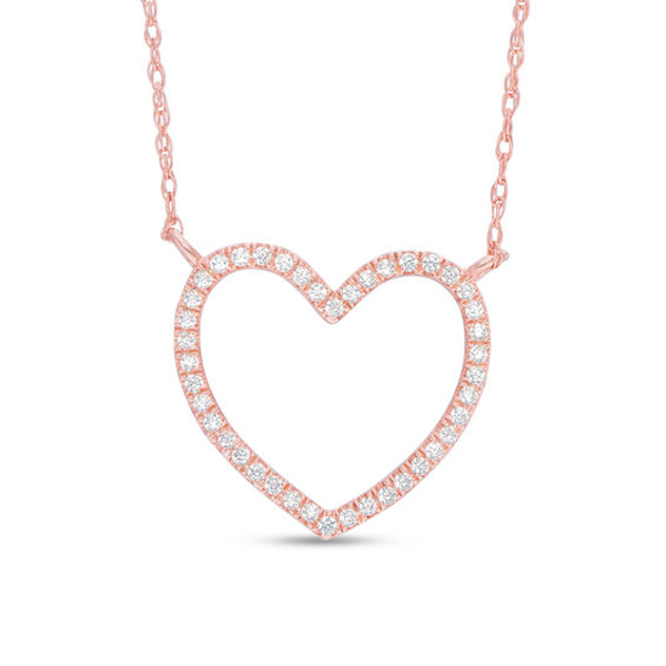 1 10 Ct T W Diamond Heart Outline Necklace In 10k Rose Gold Diamond Heart Heart Outline Rose Gold