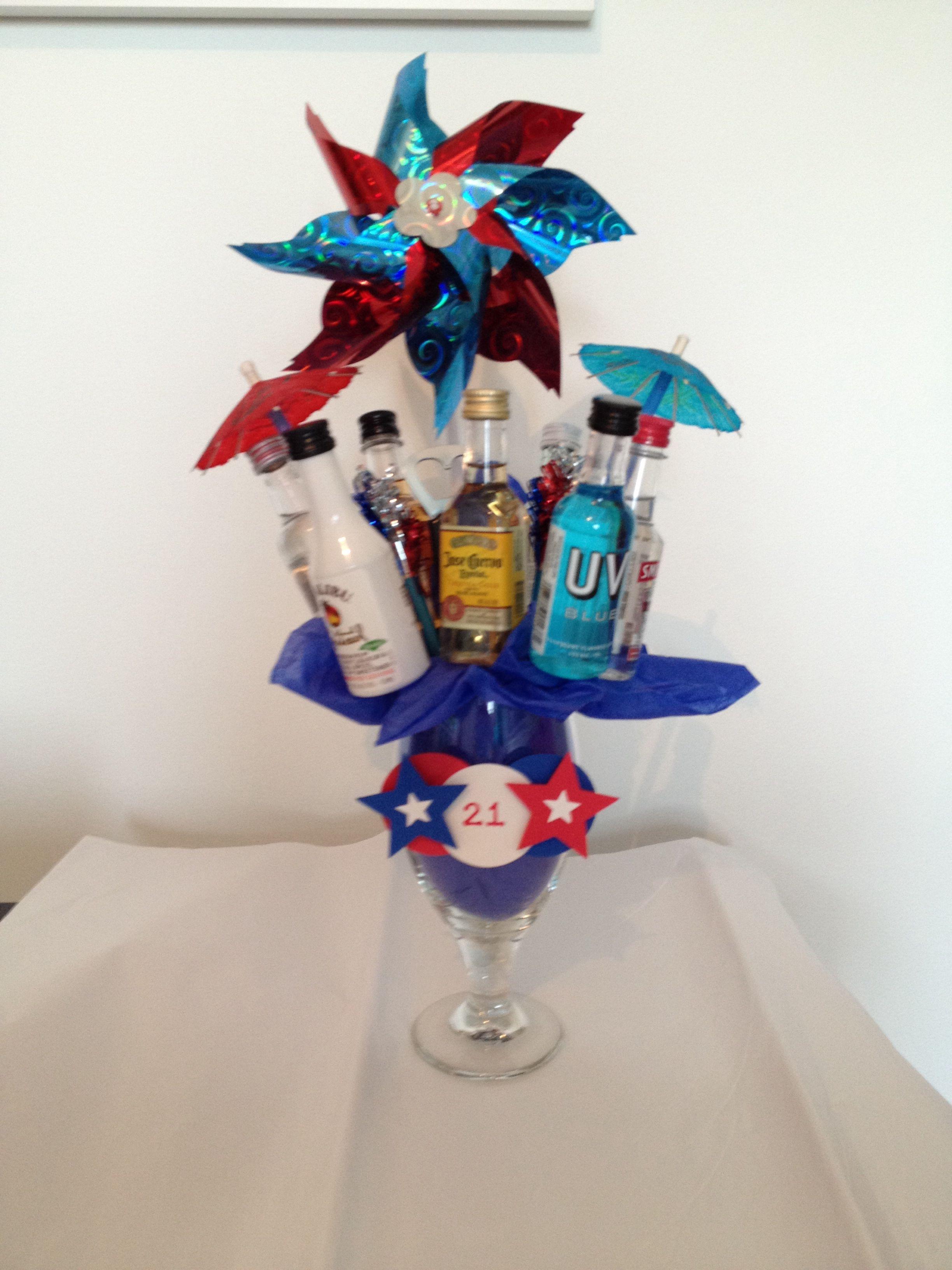 21st birthday mini liquor bottle bouquet4th of july