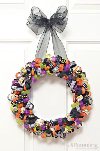 ribbon wreath for Halloween