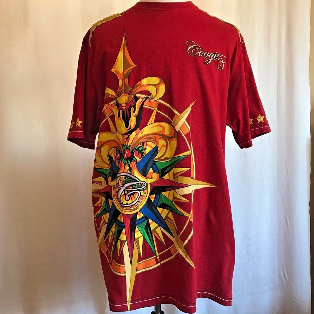 Coogi Red Embroidered Mens T-shirt Hip Hop Graphic Australia Compass Stars  XXL  COOGI  GraphicTee 042a8d4054d