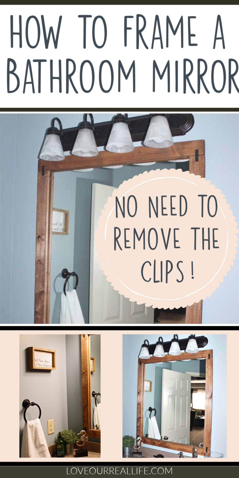 How To Build A Diy Frame To Hang Over A Bathroom Mirror Love Our Real Life In 2020 Dining Room Decor Diy Diy Kitchen Decor Diy Decor Projects