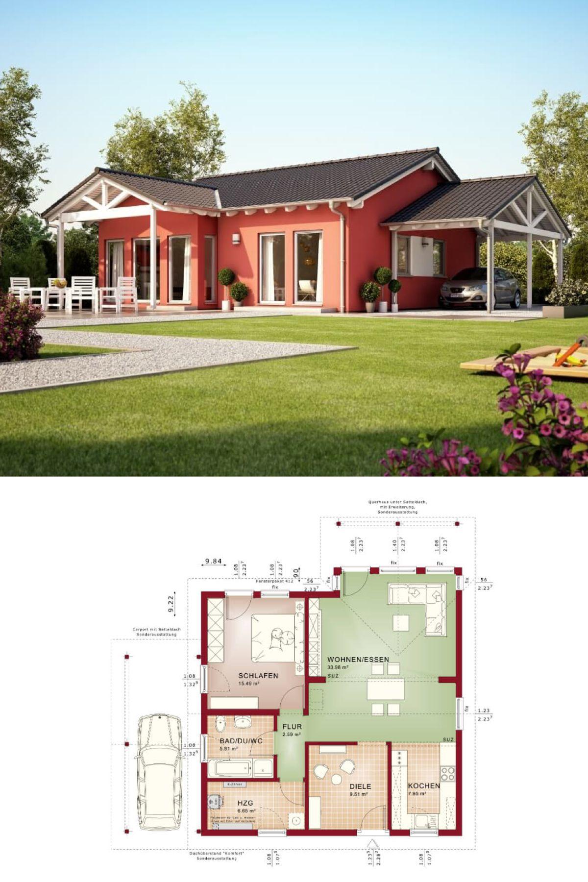 Fertighaus mediterran bungalow  BUNGALOW mediterran * Fertighaus Solution 78 V2 Living Haus ...