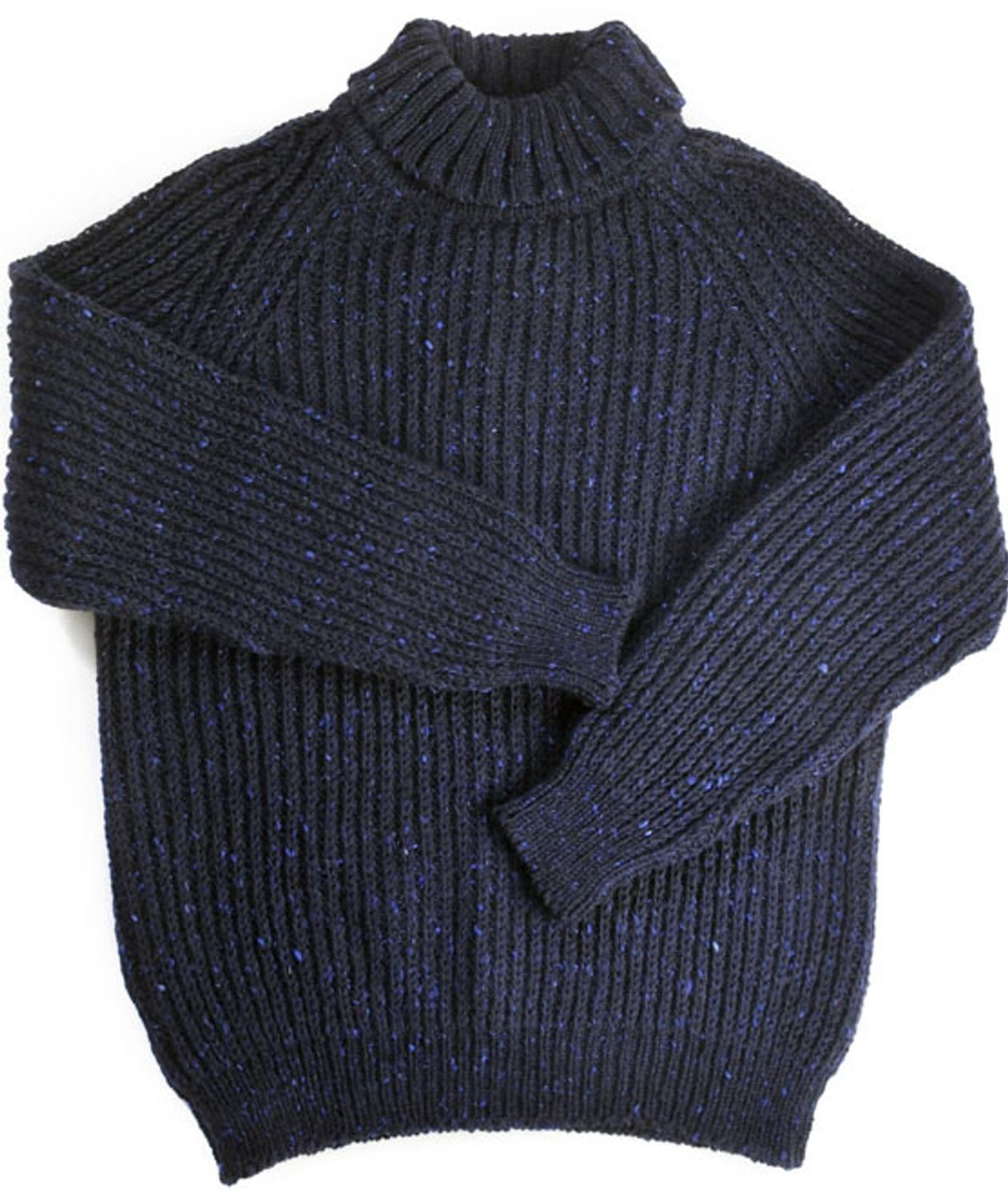 a813d5d53 Donegal Fisherman s Rib Polo Neck Sweater Navy
