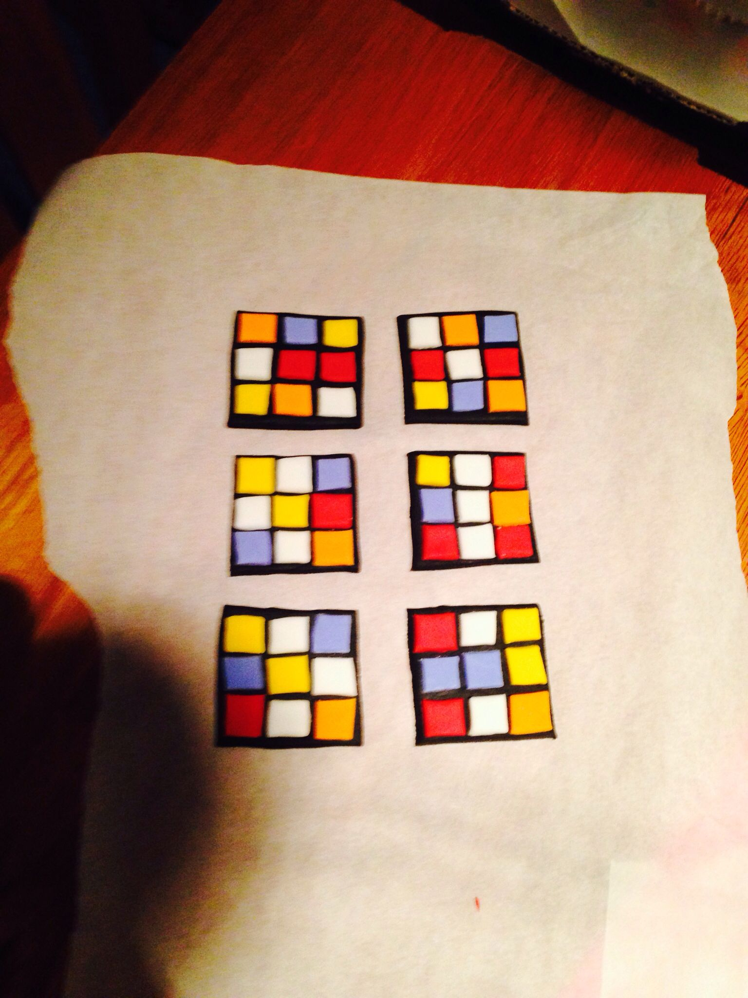 Rubix cube cupcake toppers