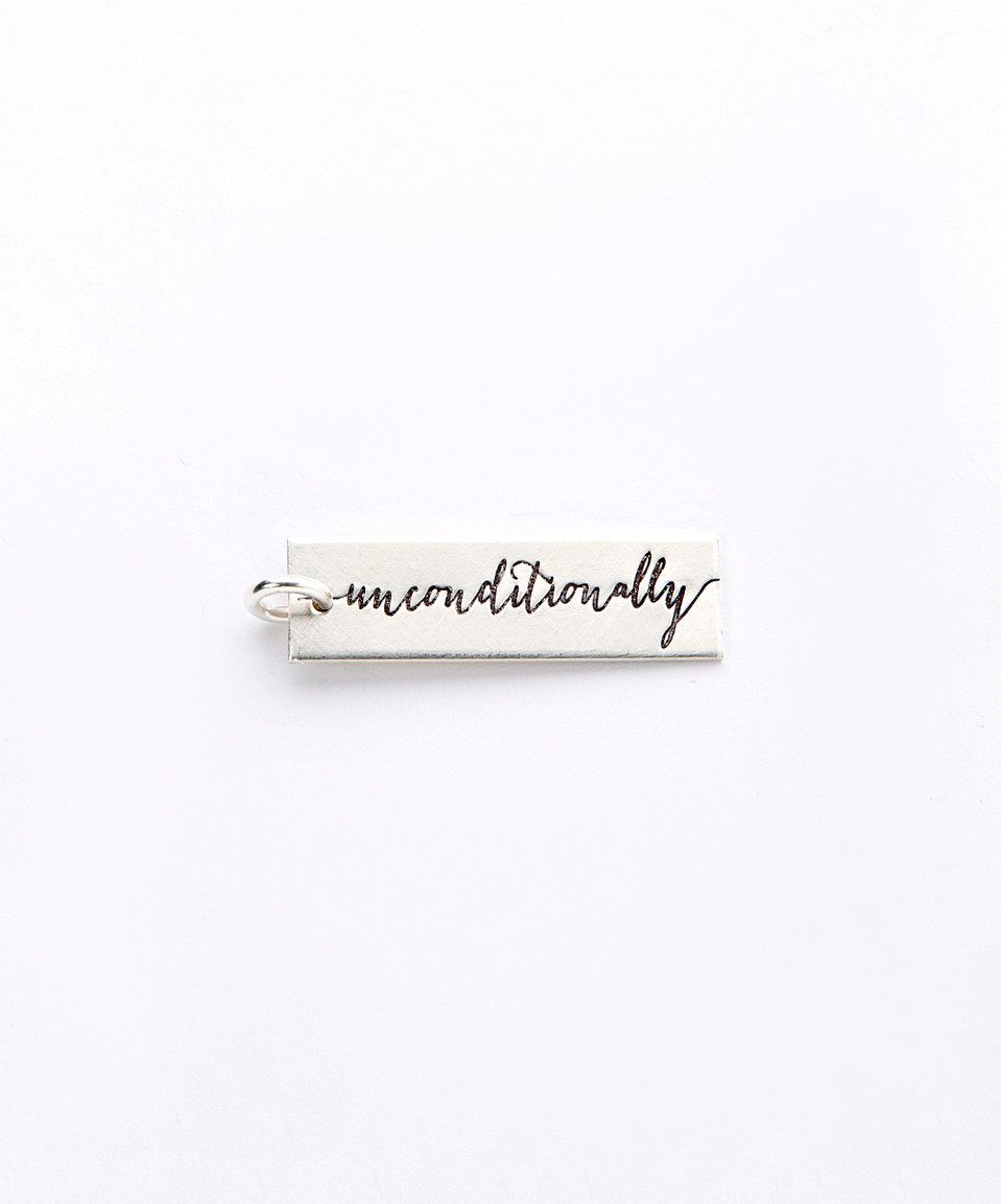 Another great find on #zulily! Sterling Silver 'Unconditionally' Rectangle Charm by FIVE by Littlefield Lane #zulilyfinds