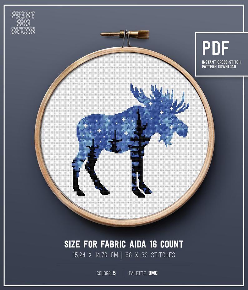 Animal Silhouette Cross Stitch Pattern, Forest theme