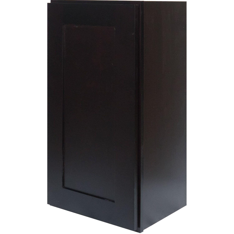 Single Door Wall Cabinet in Shaker Espresso with Soft Close Door & 2