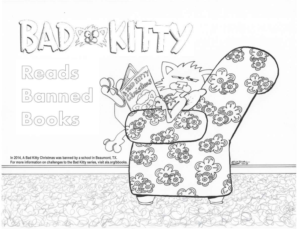 Free Downloads Bad Cats Kitty Coloring Banned Books Week