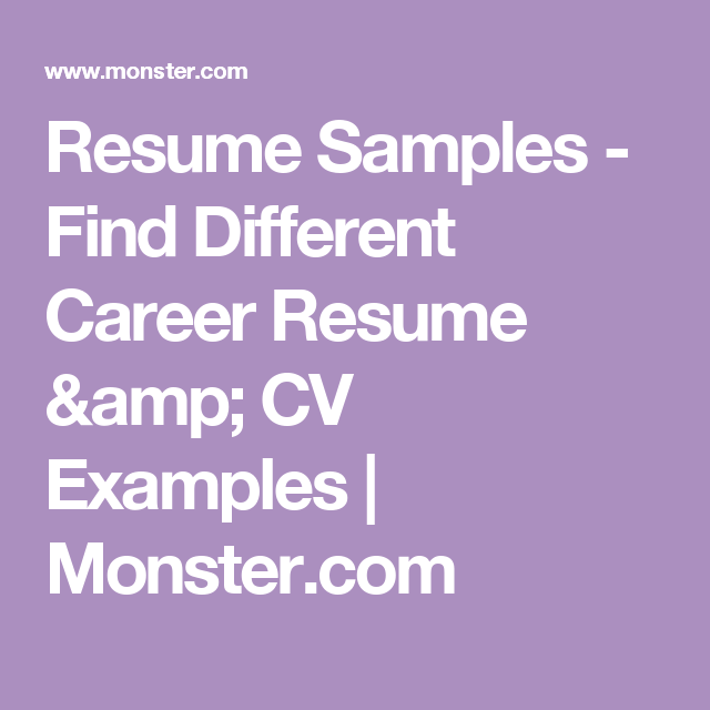Resume Samples  Find Different Career Resume  Cv Examples