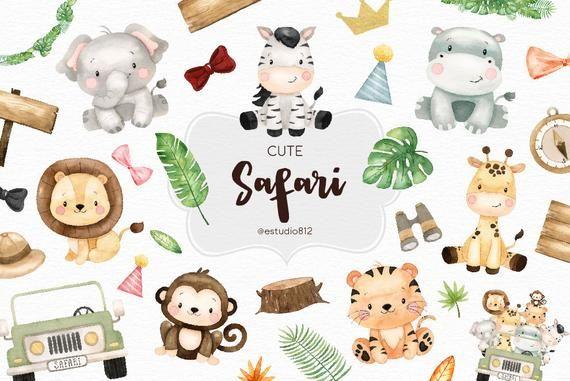 Safari Watercolor Clipart Elephant Hipo Lion Tiger Giraffe Clip Art Digital Download Clip Art Safari Baby Png Cute Clipart