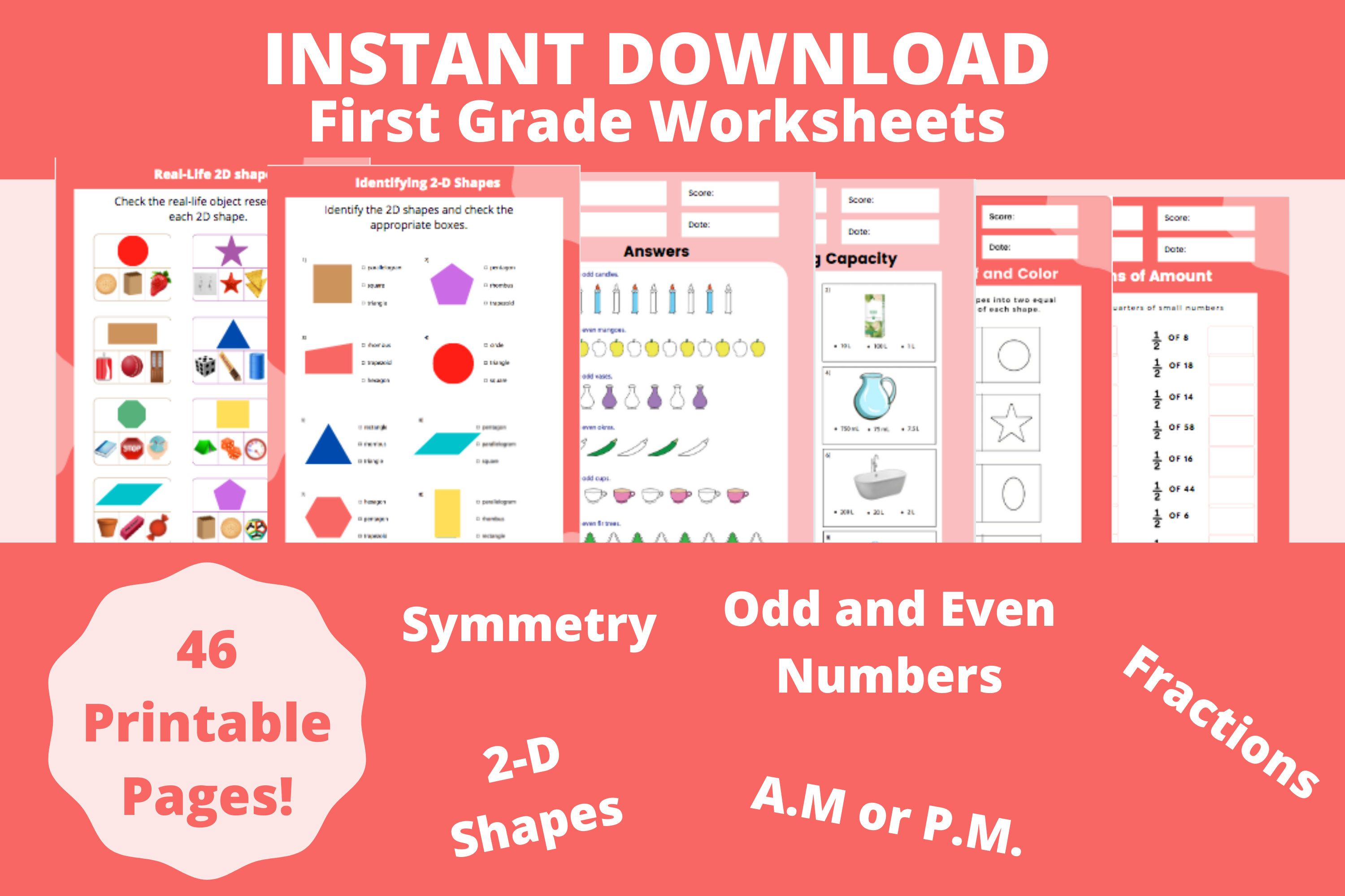 First Grade Worksheets Kids Activity Pages Printable