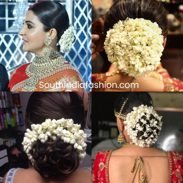 Indian Wedding Bun Hairstyle With Flowers And Gajra Indian Wedding Hairstyles Indian Bun Hairstyles Wedding Bun Hairstyles