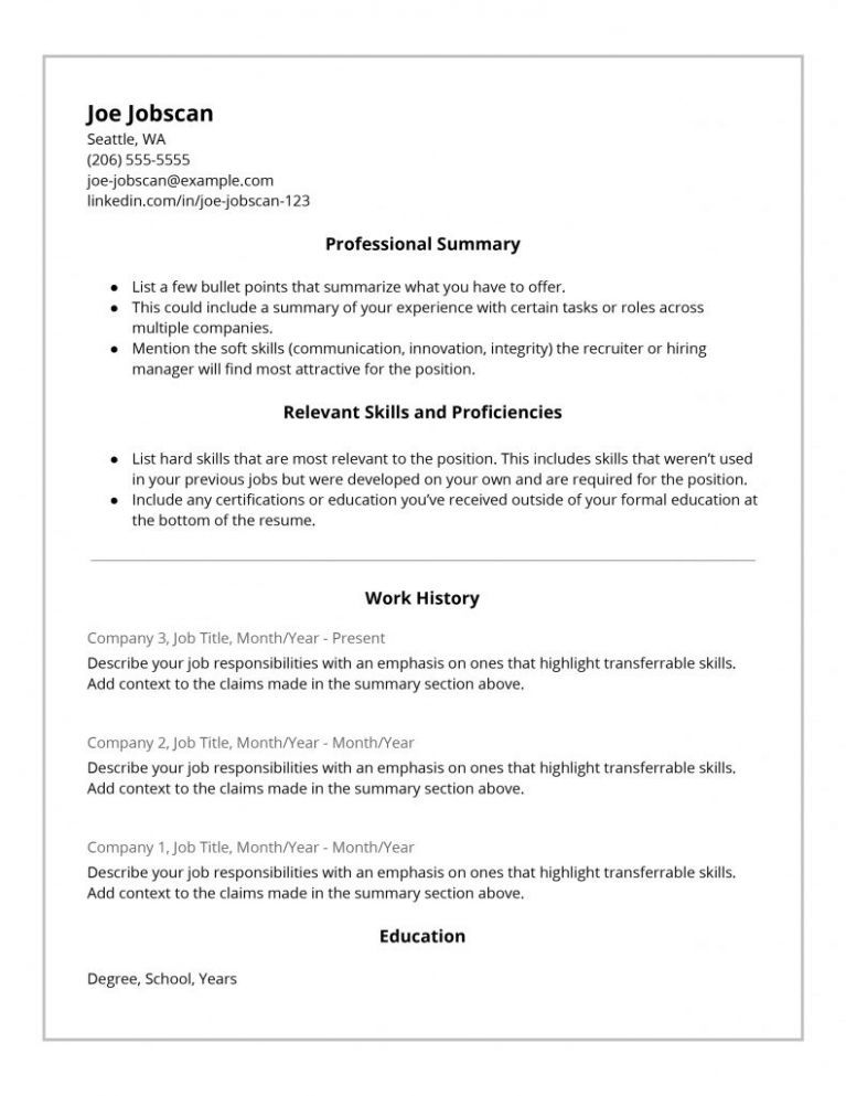 9 Hybrid Resume Template in 2020 Functional resume