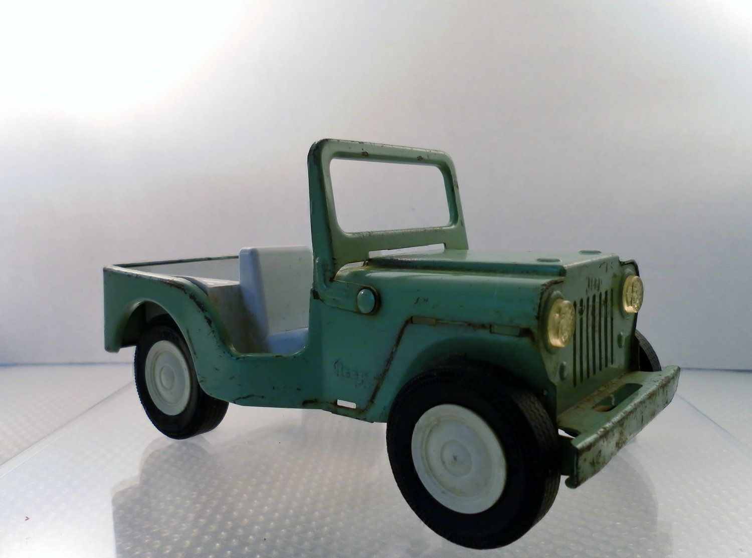 Vintage Late 1960 S Tonka Toy Pressed Steel Lime Green Jeep