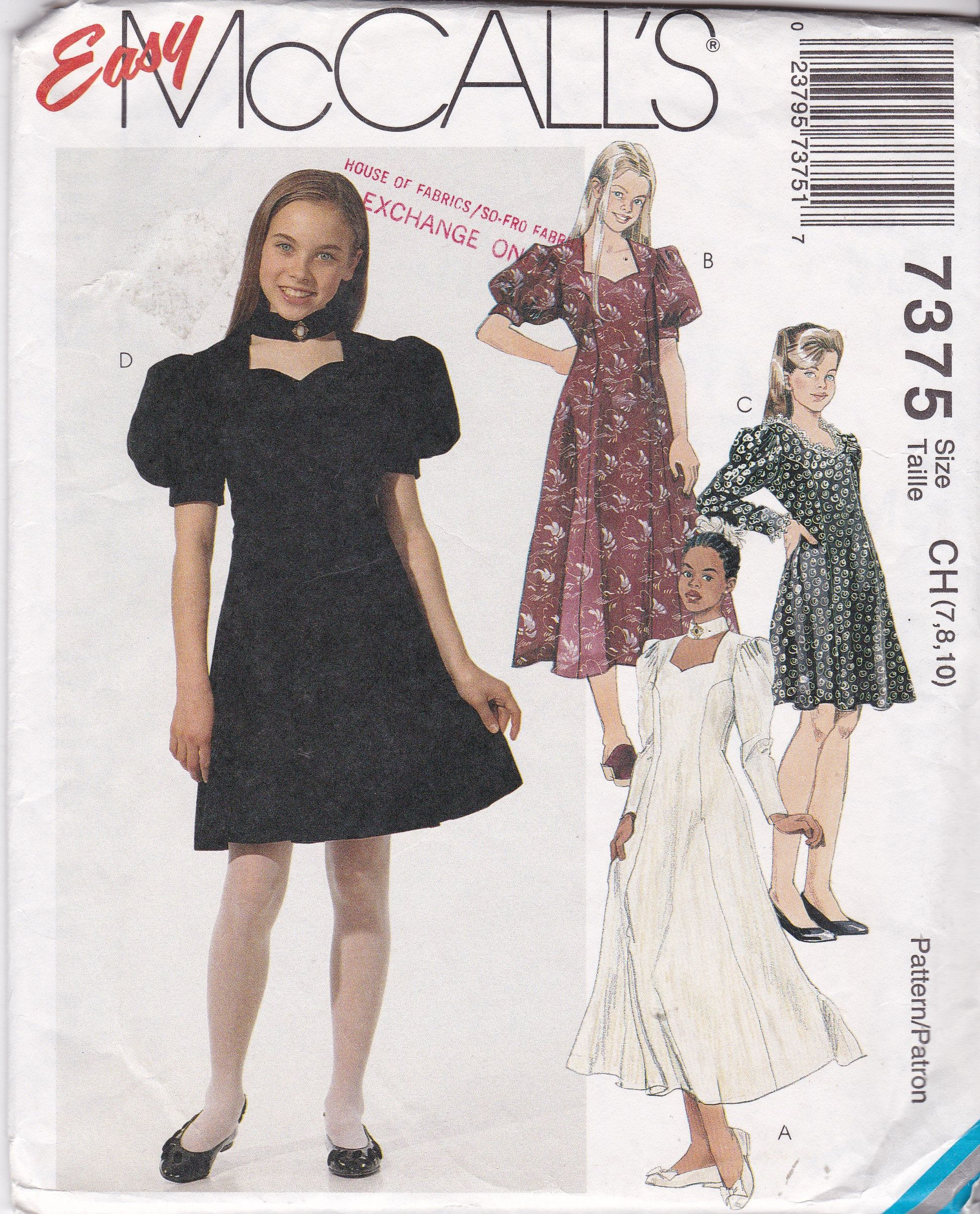 Girls dress patterns child size 7 8 10 fit and flared